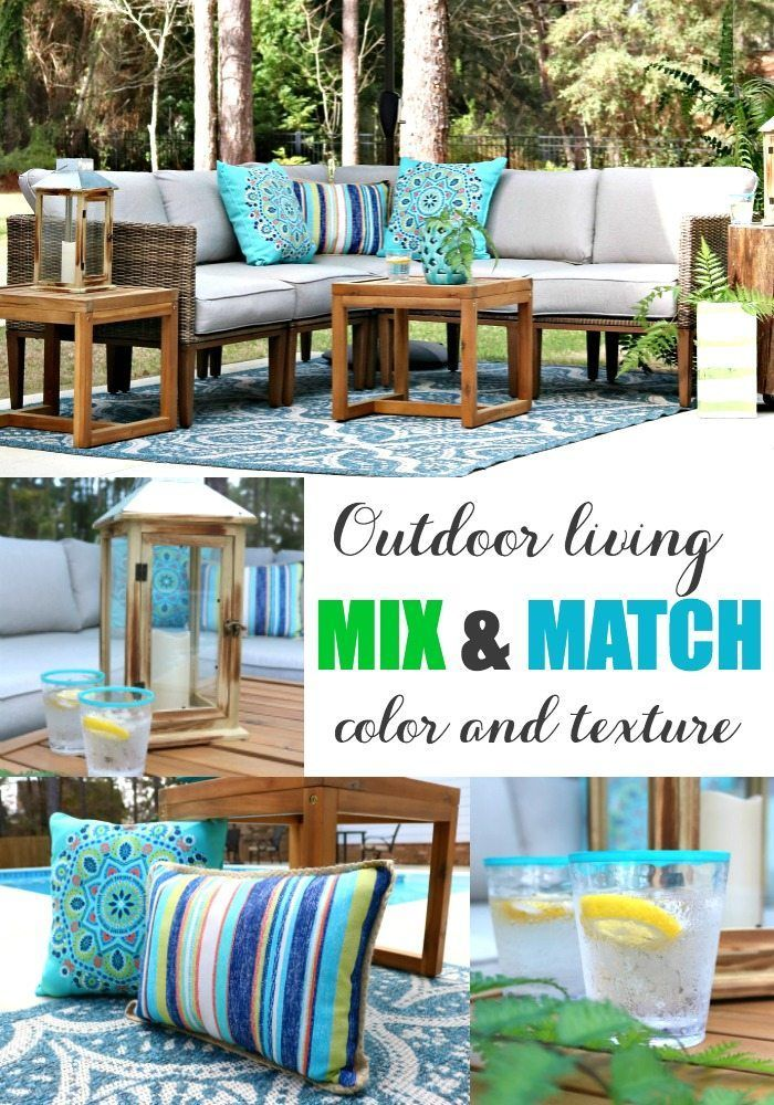 Patio Decorating Ideas Outdoor Living Mix And Match Color And Texture With Better Homes Gardens From Walmar Patio Decor Outdoor Patio Decor Outdoor Decor
