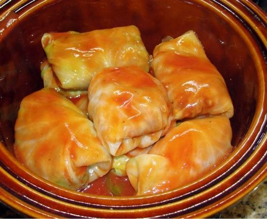 Crockpot Cabbage Rolls. I more than doubled the sauce and added garlic,