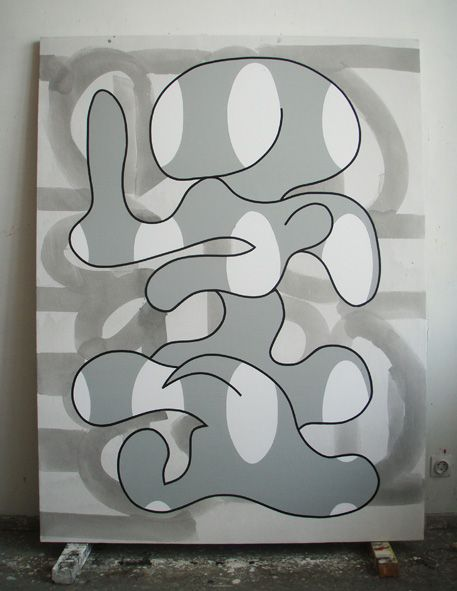 Olivier Gourvil, Ohah, 2008, oil and acrylic on canvas, 210 x 160 cm