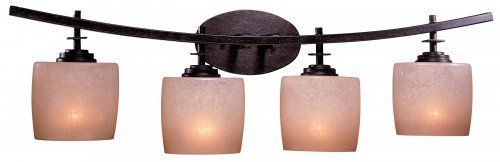 """Raiden Collection 32 1/2"""" Wide Bathroom Light Fixture by Minka Lavery. $239.90. This bathroom light fixture boasts strong lines and a wonderful architectural presence. Its sleek industrial Minka design contrasts with the warmth of Venetian scavo glass. Features a rich iron oxide finish.. Save 33%!"""