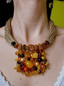 Natural Baltic Amber Linen Necklace