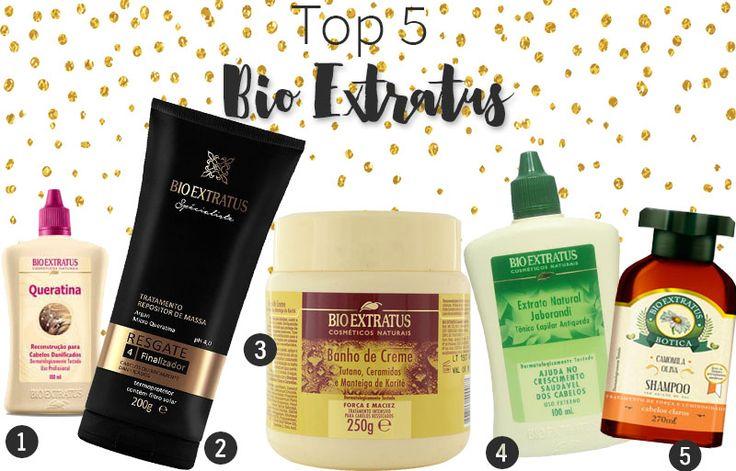 Top 5 produtos Bio Extratus: uma queratina maravilhosa, uma máscara incrível, um finalizador tudo de bom, um shampoo iluminador e muito mais!