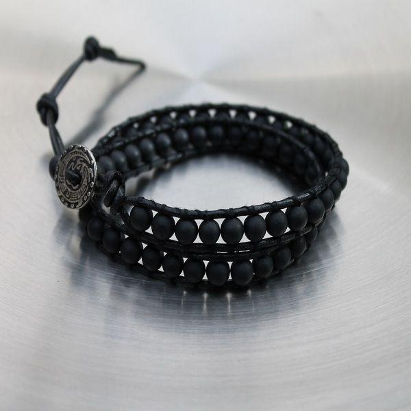 Mens Leather Wrap Blacksone Bracelet Dakota £24.95