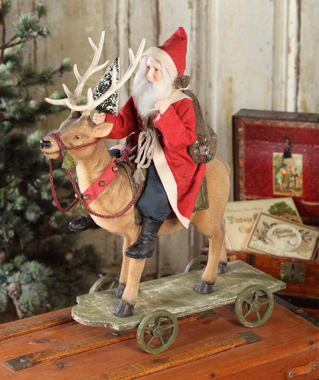 Vintage Santa Riding Reindeer | Bethany Lowe Christmas