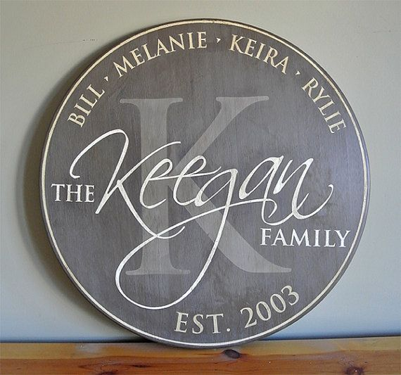 "Perfect Wedding, Anniverary, Housewarming or Realtor Gift - Personalized Established Family Name Sign - Monogram Initial Round Sign - 18"" Wood Sign"