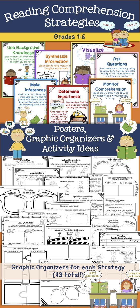 Reading Comprehension Strategies Posters & Tons of Graphic Organizers! Grades 1-6 Research-Based from 7 Keys to Comprehension