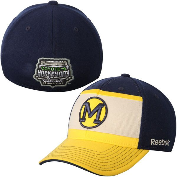 Michigan Wolverines Reebok 2015 Hockey City Classic Flex Hat - Navy Blue/Gold - $11.99