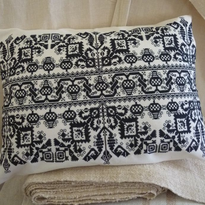 Hand embroidered in cotton in fine cross stitch in black Traditonal Hungarian folk design Embroidered by a master embroiderer