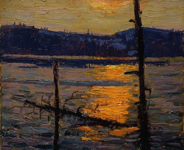 Tom Thomson - Sunset Canoe Lake Spring, 1916 (8.5 x 10.5 Oil on canvas board)