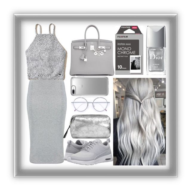 """""""Grey"""" by mileyharbee on Polyvore featuring Boohoo, NIKE, Hermès, Christian Dior, MANGO, Thom Browne, Speck and Hollister Co."""