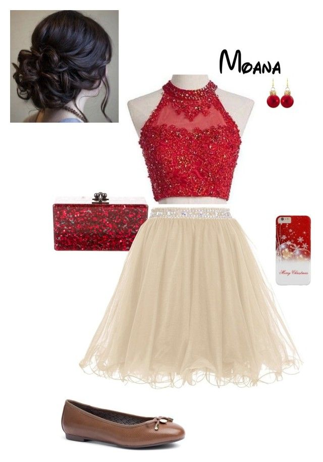 """Disney Christmas Party - Moana"" by briony-jae ❤ liked on Polyvore featuring Edie Parker and Tommy Hilfiger"