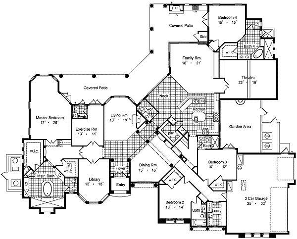 plan 63168hd mediterranean luxury home plan floor 1 - Luxury House Plans