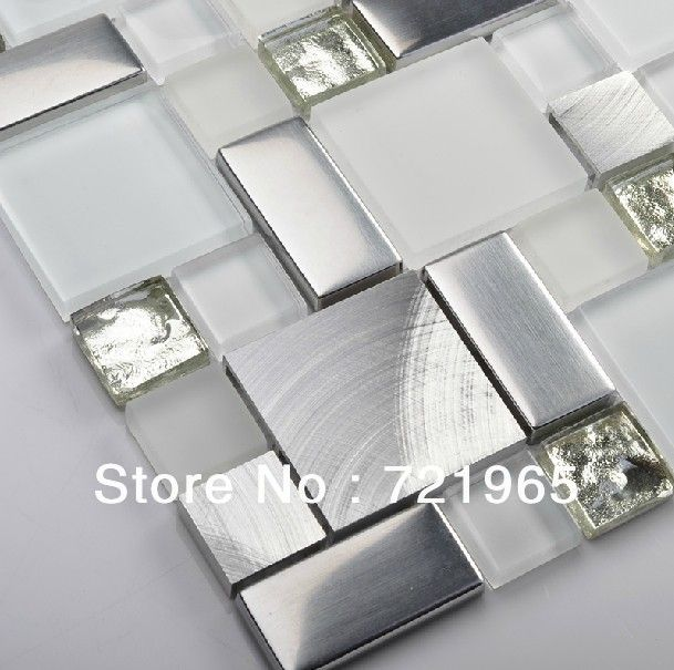 Glass mosaic kitchen backsplash tile SSMT104 silver stainless steel metal mosaics crystal white glass mosaic bathroom wall tiles $320.09