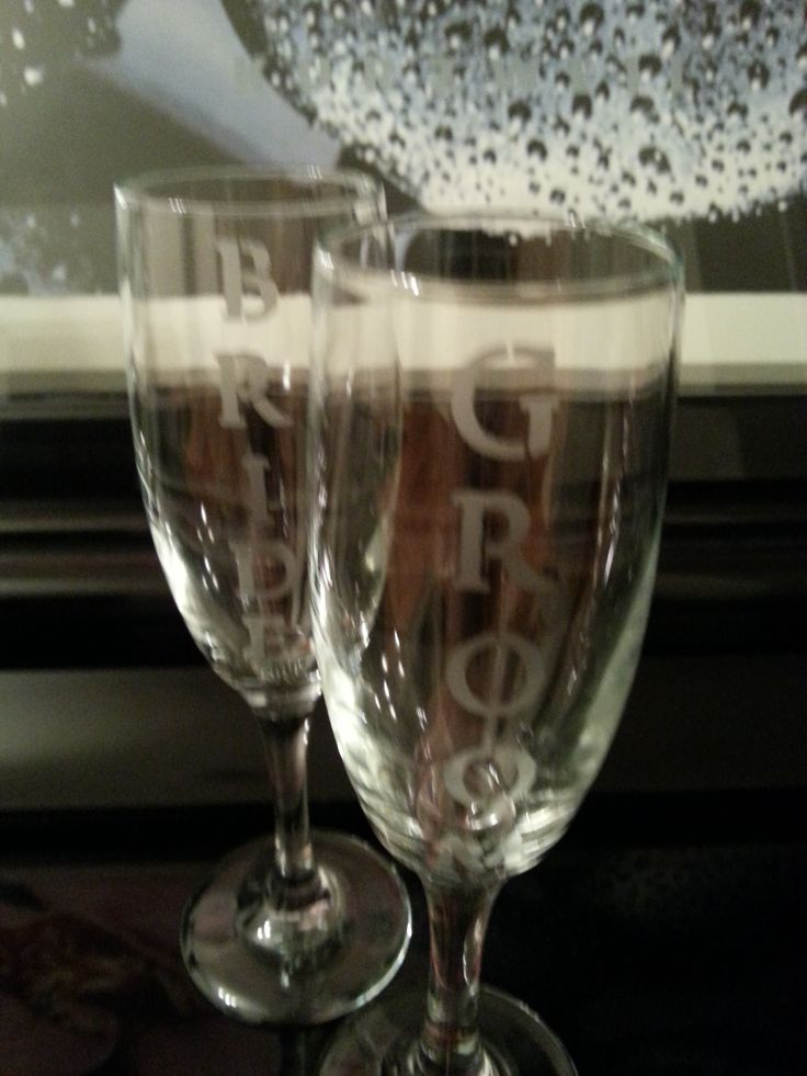 Bride & Groom Etched glass