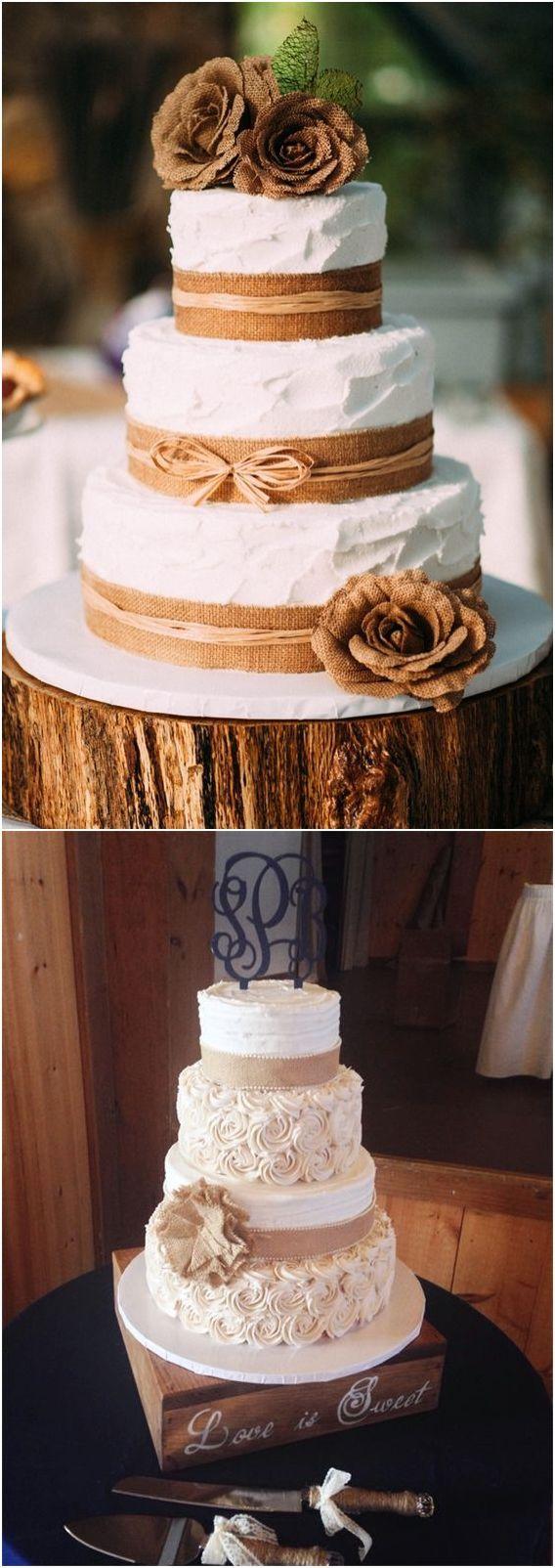 rustic burlap wedding cakes  #wedding #weddingideas #weddingcakes #cakes