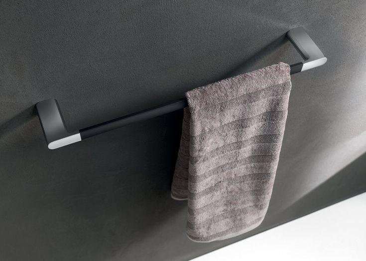 Mito towel rail in Black soft touch finish