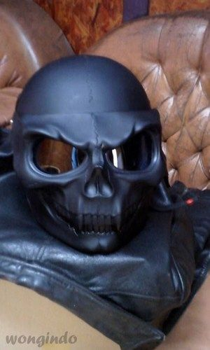 Skeleton Black Skull Motorcycle Helmet Full Face 3D Airbrush Rare
