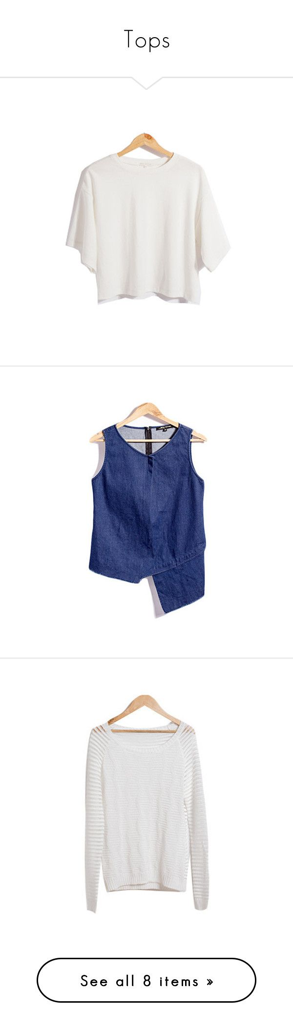 """""""Tops"""" by stargazerfashion on Polyvore featuring tops, t-shirts, crop t shirt, tall t shirts, asymmetrical top, oversized t shirt, crop tee, tall tops, sleeveless denim top and blue top"""