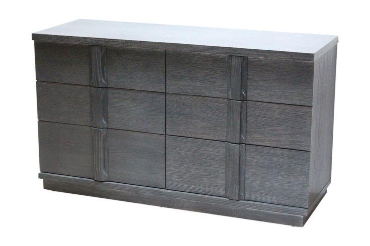 Spectacular Grey Cerused Oak Six Drawer Dresser on Chairish.com