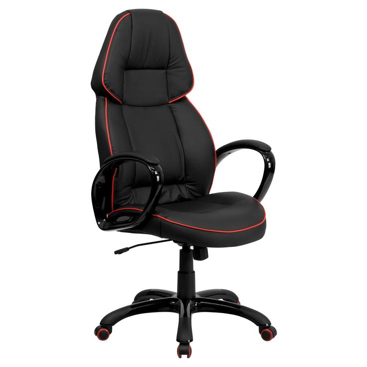 Executive Swivel Office Chair Red Pipeline Border/Black Vinyl - Flash Furniture