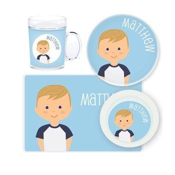 Boy Personalised Kids Mealtime Set $32.95 -$39.95 #baby #sweetcreations  #toddlers #kids #personalised