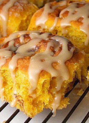 Amish Pumpkin Cinnamon Rolls with Caramel Icing recipe from http://RecipeGirl.com