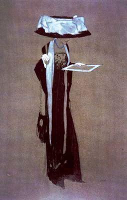 Mulher lendo  Xavier Gosé (Espanha, 1876-1915)  Guache sobre papel  =