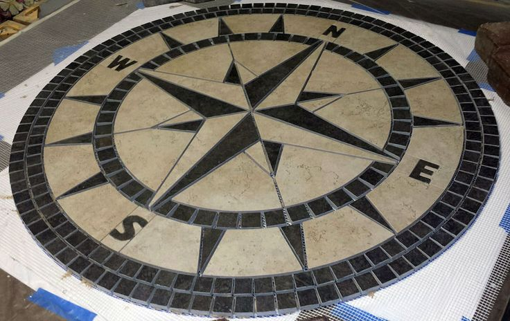 """36"""" Handcrafted Porcelain Tile Classic Compass Rose Mosaic Medallion Made in USA #TileProductions"""