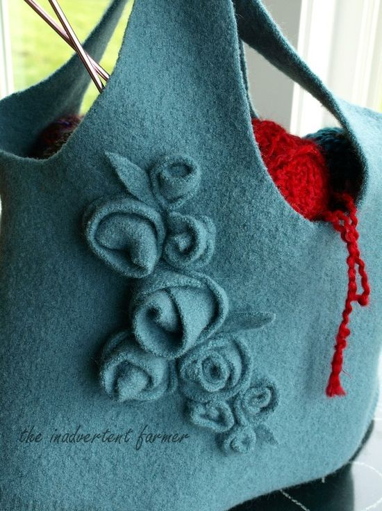 Knitting bag made from a thrift shop sweater purchase, felted, sewn into this With roses #tutorial