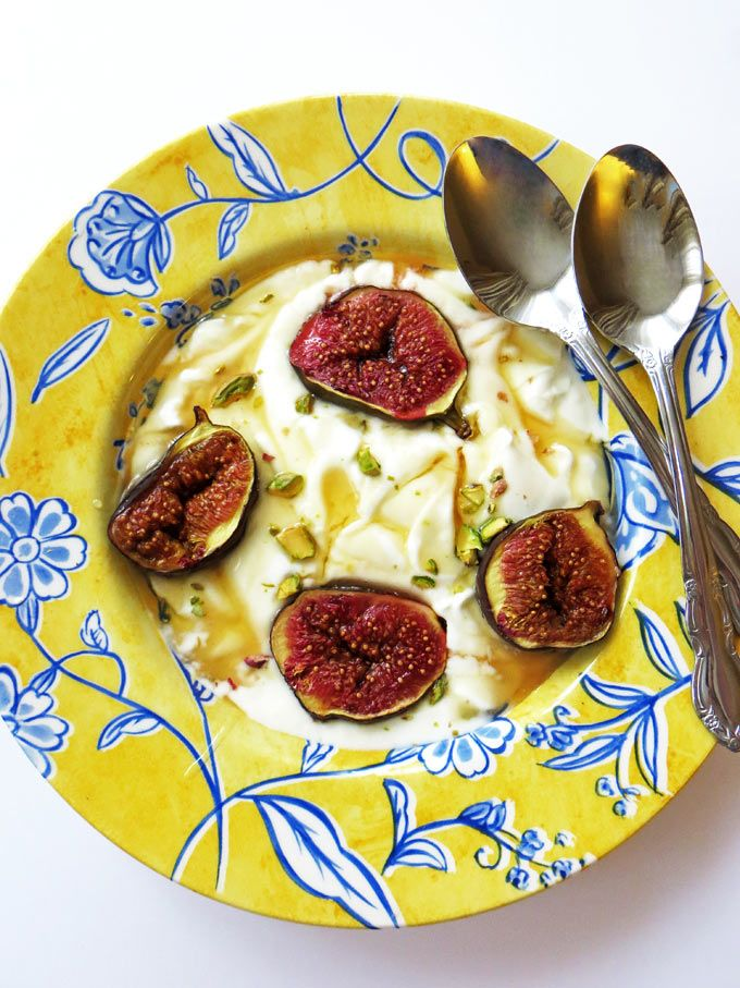 Greek Yoghurt With Roast Figs, Honey & Pistachios. A natural, healthy dessert recipe from the Eastern Mediterranean.