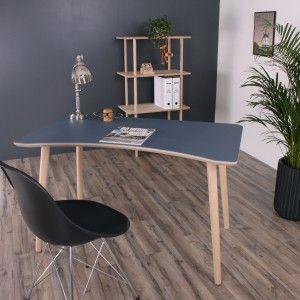 Washington skrivebord -Blågrå Linolium