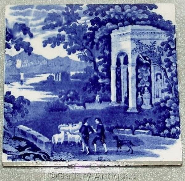 RARE Wedgwood LANDSCAPE pattern BLUE and WHITE transferware TILE scenic c.1885 #Landscape