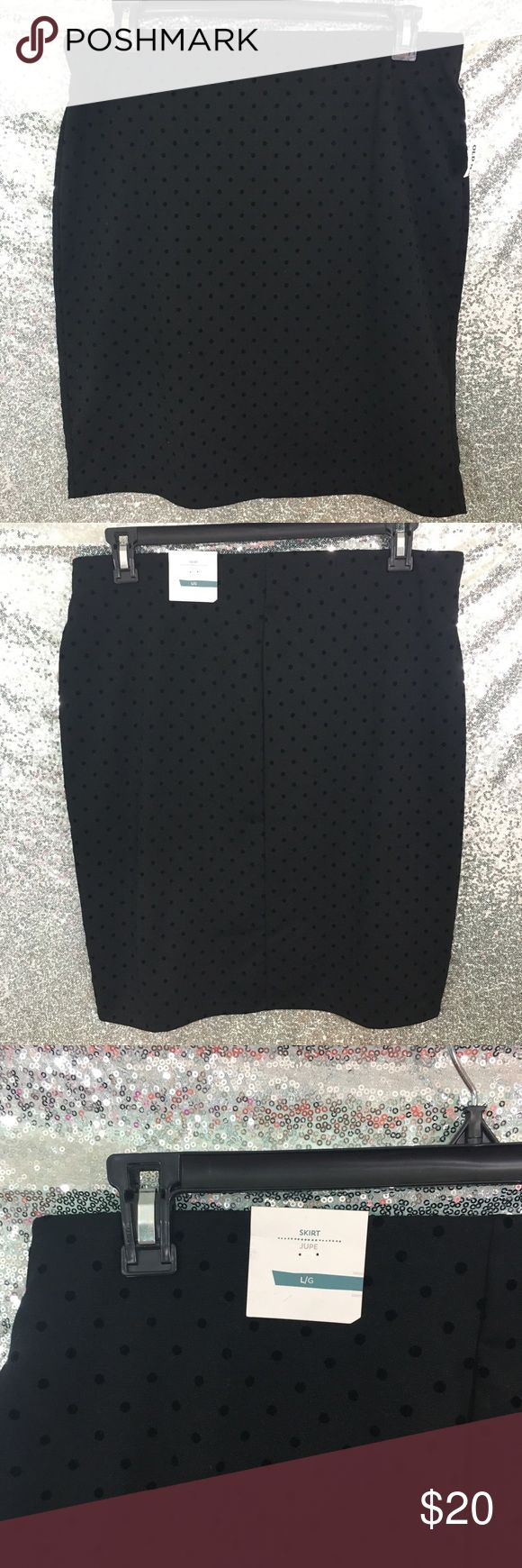 """NWT Large Black Skirt Velvet Polka Dots Brand new, elastic and comfy.  Flattering waist band and fabric.  Black skirt with velvet polka dots.  22.5"""" Long, Waist is 18"""" across flat. Old Navy Skirts"""