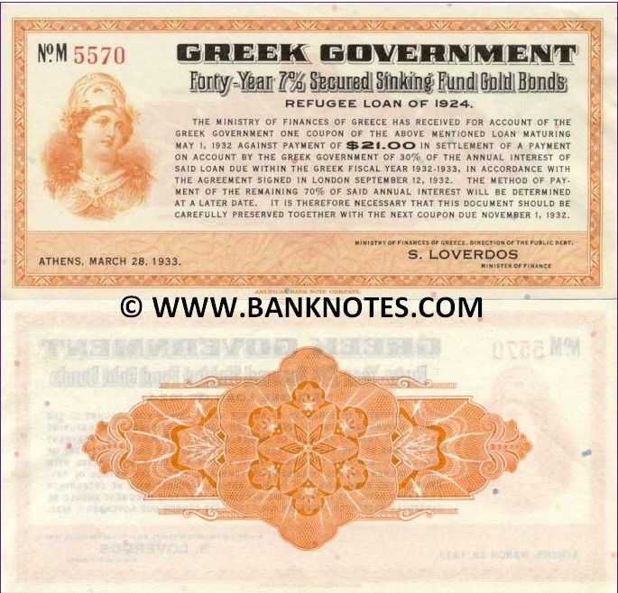 Greek Government Forty-Year 7% Secured Sinking Fund Gold Bond - Refugee Loan of 1924 - Athens, March 28, 1933