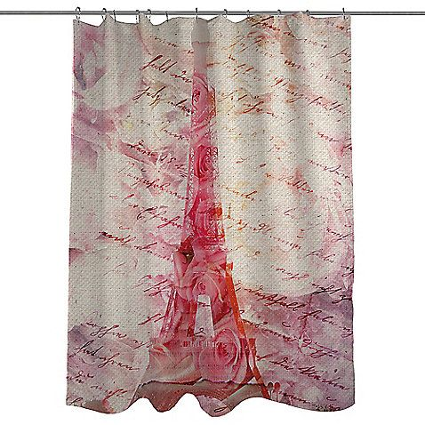 Celebrate your inner romantic with the perfectly pink Love Letters Shower Curtain. Beautifully colored to create an image of the Eiffel Tower, this rose print curtain features a charming script print overlay, reminiscent of vintage-style love letters.