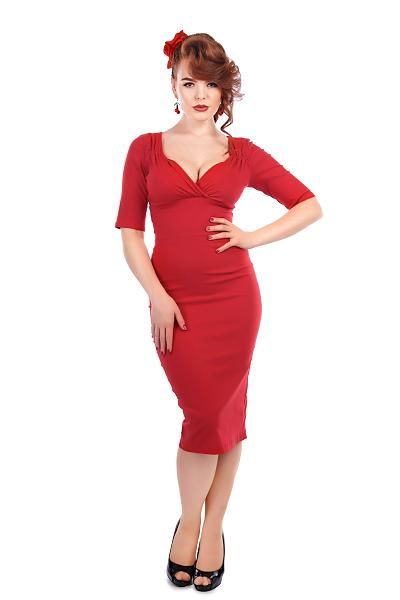 Trixie Pencil Dress, Rød