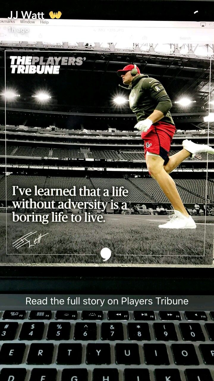 JJ Watt Snapchat - 11.22.16 - article in Players' Tribune - reflection on his football life