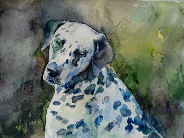 Cristina Grinciuc Watercolor dalmatian.