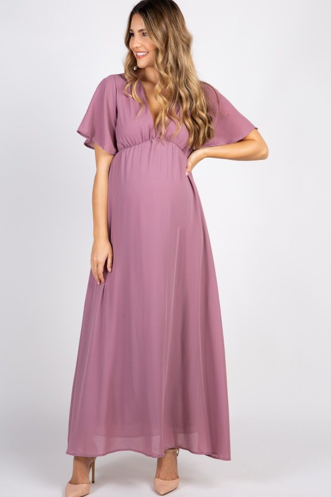 1ebda6586c Dark Mauve Chiffon Bell Sleeve Maternity Maxi Dress in 2019