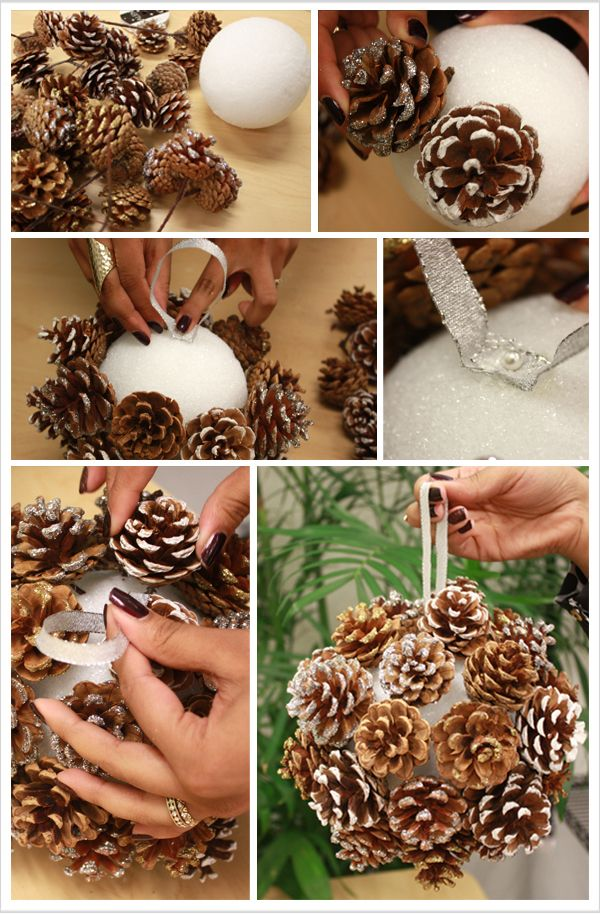 DIY: Pinecone Poms.Judy Leesburg... i always paint the ball first...it helps hide the white part fill in with fallleaves very pretty