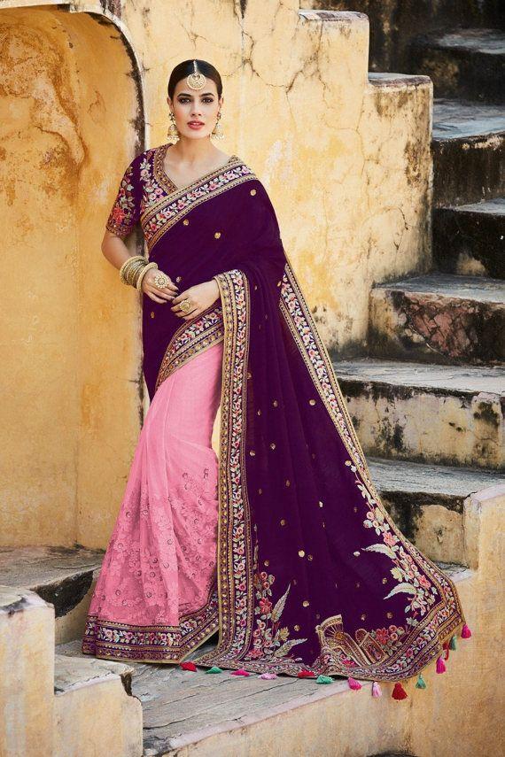 Indian Silk and Net Sari  Purple and Pink  Sari by AshaMarket