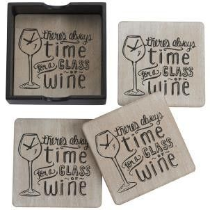 Always Time For Wine Coasters - Set 4 - Amour Decor