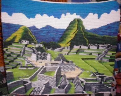 #Handgewebter #Motivteppich, Ruinen von #Machu #Picchu, 100 x 100 cm