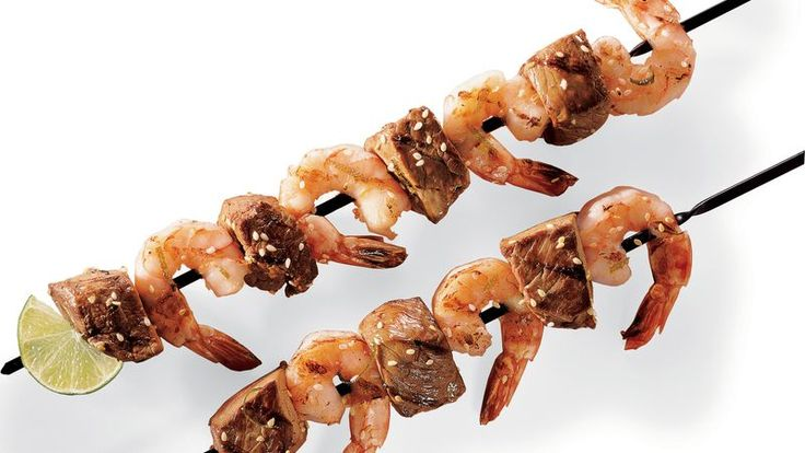 Add an Asian twist to your dinner with these grilled kabobs made using beef and shrimp.
