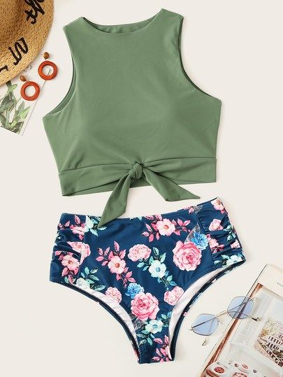962a092437b Knot Hem Top With Random Floral Tankini Set in 2019 | Colorful Tops ...