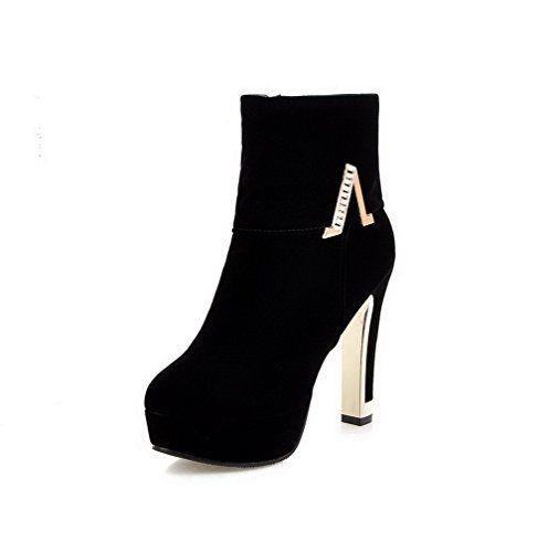Women's Flock Low-top Solid Zipper High-Heels Boots with Crystals