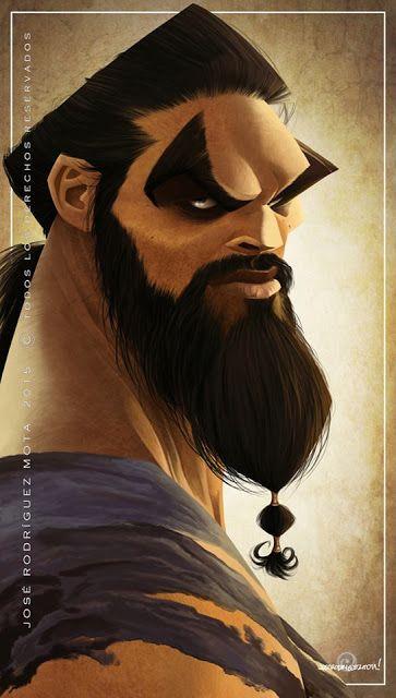 """Caricatura del actor Jason Momoa, interpretando a Khal Drogo en la saga """"Juego de Tronos""""..."""