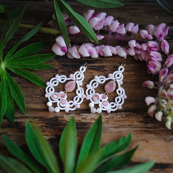 The price is for one pair of earrings. Earrings Butterfly wings are made in the technique of knot lace tatting. In lace woven druze toned