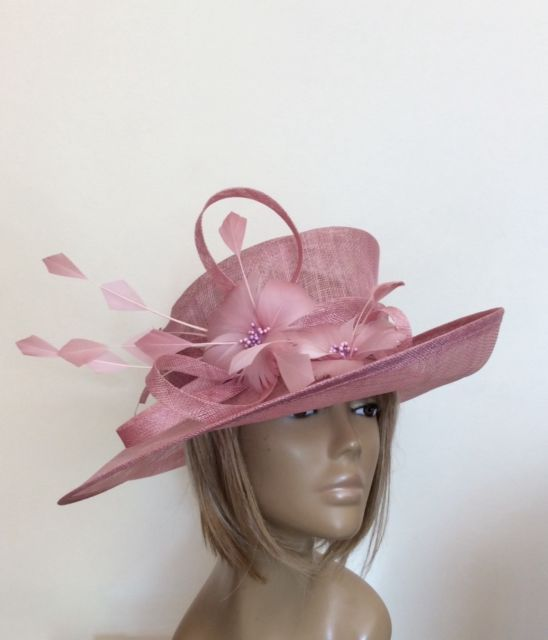 New Blush Pink Women s Sinamay Wedding Hat Mother Of The Bride Groom Ascot  Races fa29f99124d