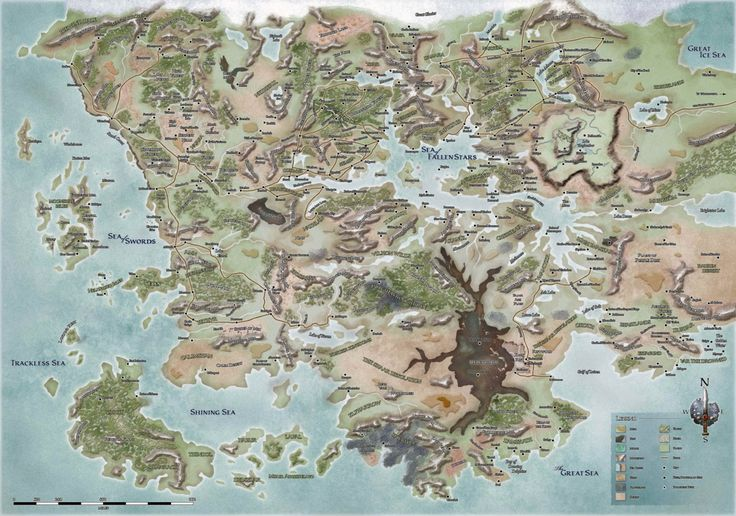 The new land of Faerun from the Forgotten Realms Dungeons and Dragons campaign setting, after the Spellplague